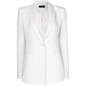 Theory White Front Button Blazer Size 10